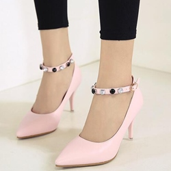 Shoespie Elegant Ankle Beaded Stiletto Heels