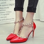 Shoespie Elegant Rivets T Strap Stiletto Heels