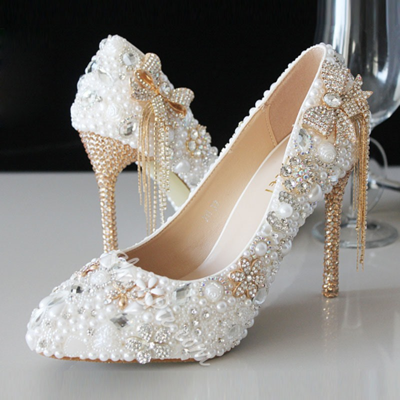 Shoespie Rhinestone & Pearl Bowtie Tassels Bridal Shoes