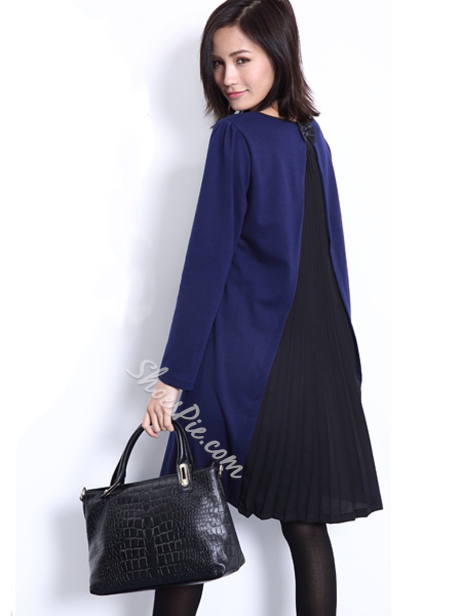 Color Block Pleated A-Line Day Dress