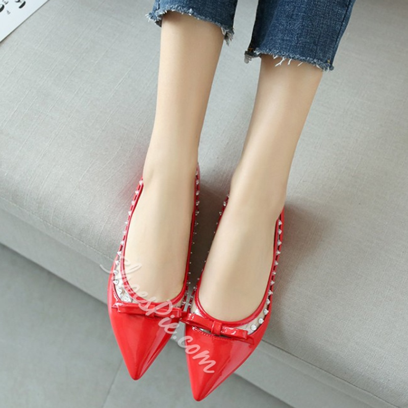 Shoespie Sweet Cute Knot Appliqued Loafers