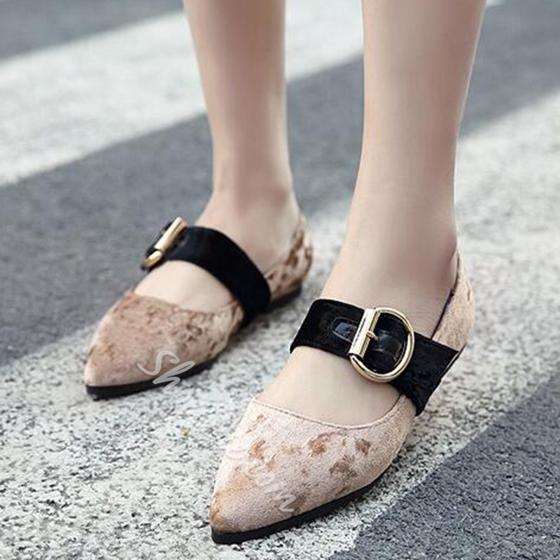 Shoespie Casual Velvet Buckle Pointed Toe Loafers