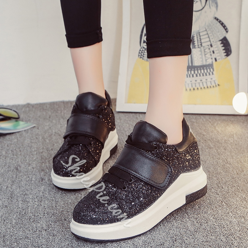 Shoespie Sequined Lace Up Sneakers with Velcro