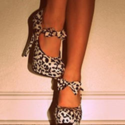 Fashionable White Leopard Ankle Strap Bowtie High Heel Shoes