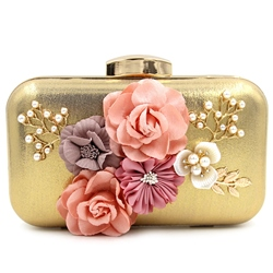 Shoespie Charming Floral Appliqued Clutch Bag