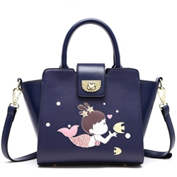 Shoespie Blue Sweet Little Girl Print Mini Handbag