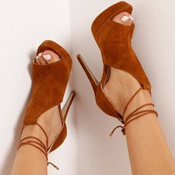 Shoespie Brown Ankle Lace Up Sandals