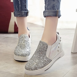 Shoespie Sequined Flip On Sneakers