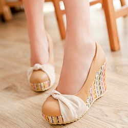 Shoespie Comfortable Ribbon Knot Wedge Heel Pumps