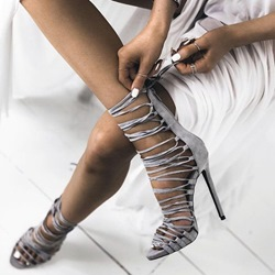 Shoespie Gray Lace Up Sandals