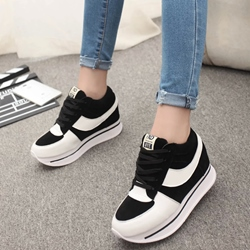 Shoespie Cute Color Block Platform Sneakers