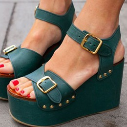 Shoespie Dark Green Buckles Platform Sandals