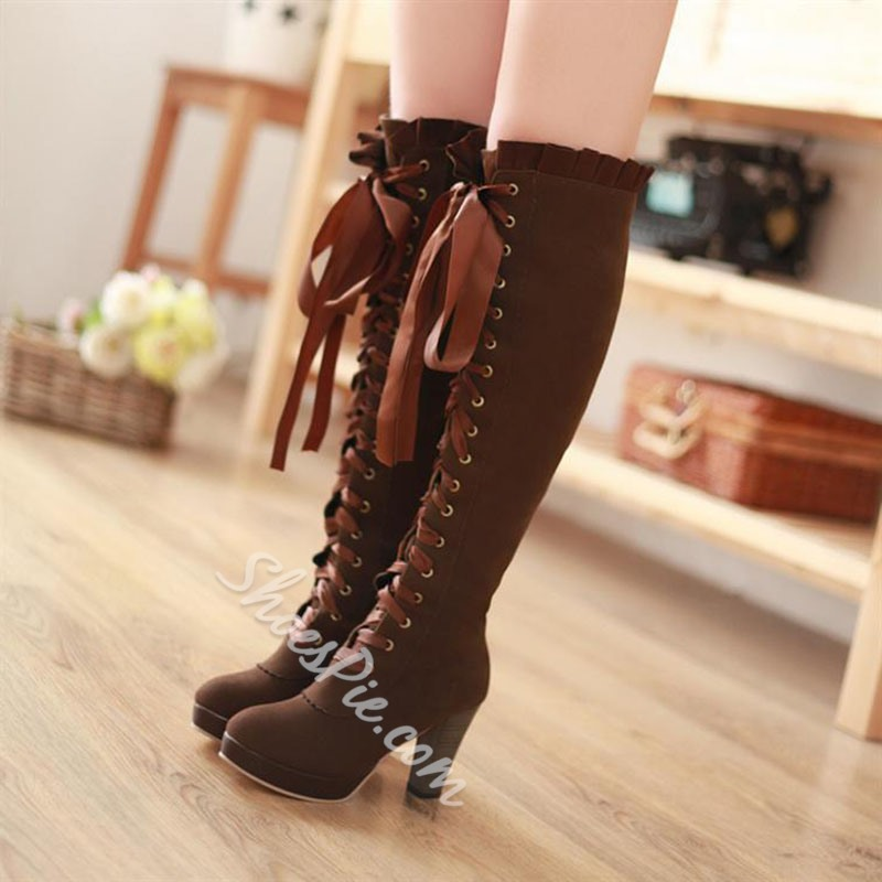 Shoespie Casual Solid Color Ribbon Lace Up Knee High Boots