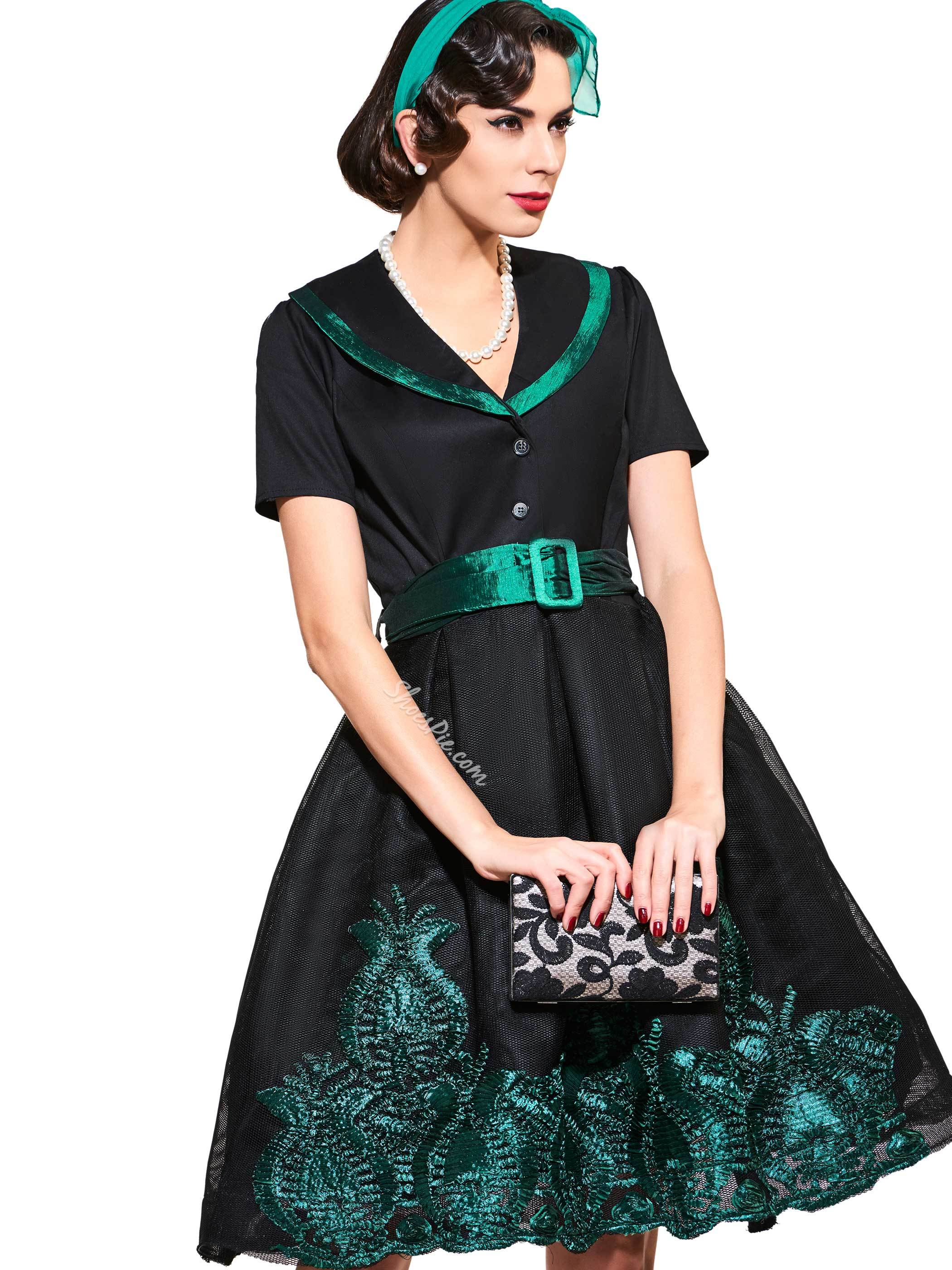 V-Neck Short Sleeve A-Line Vintage Dress