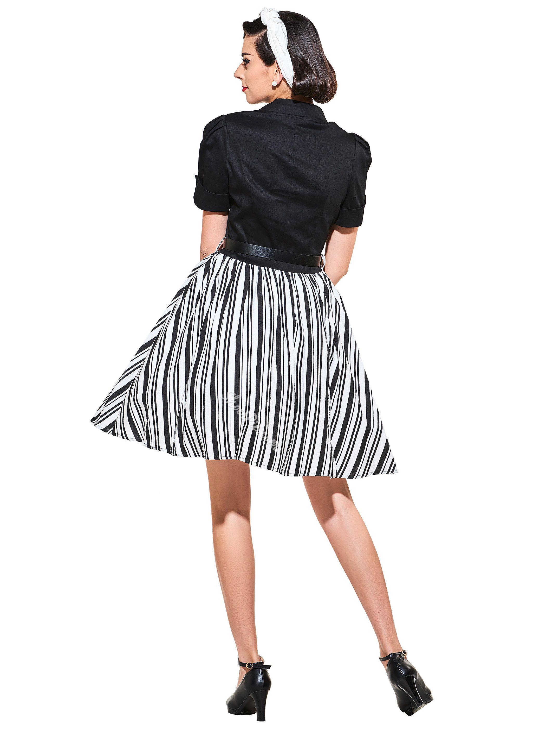 Stand Collar Short Sleeve Vintage Dress