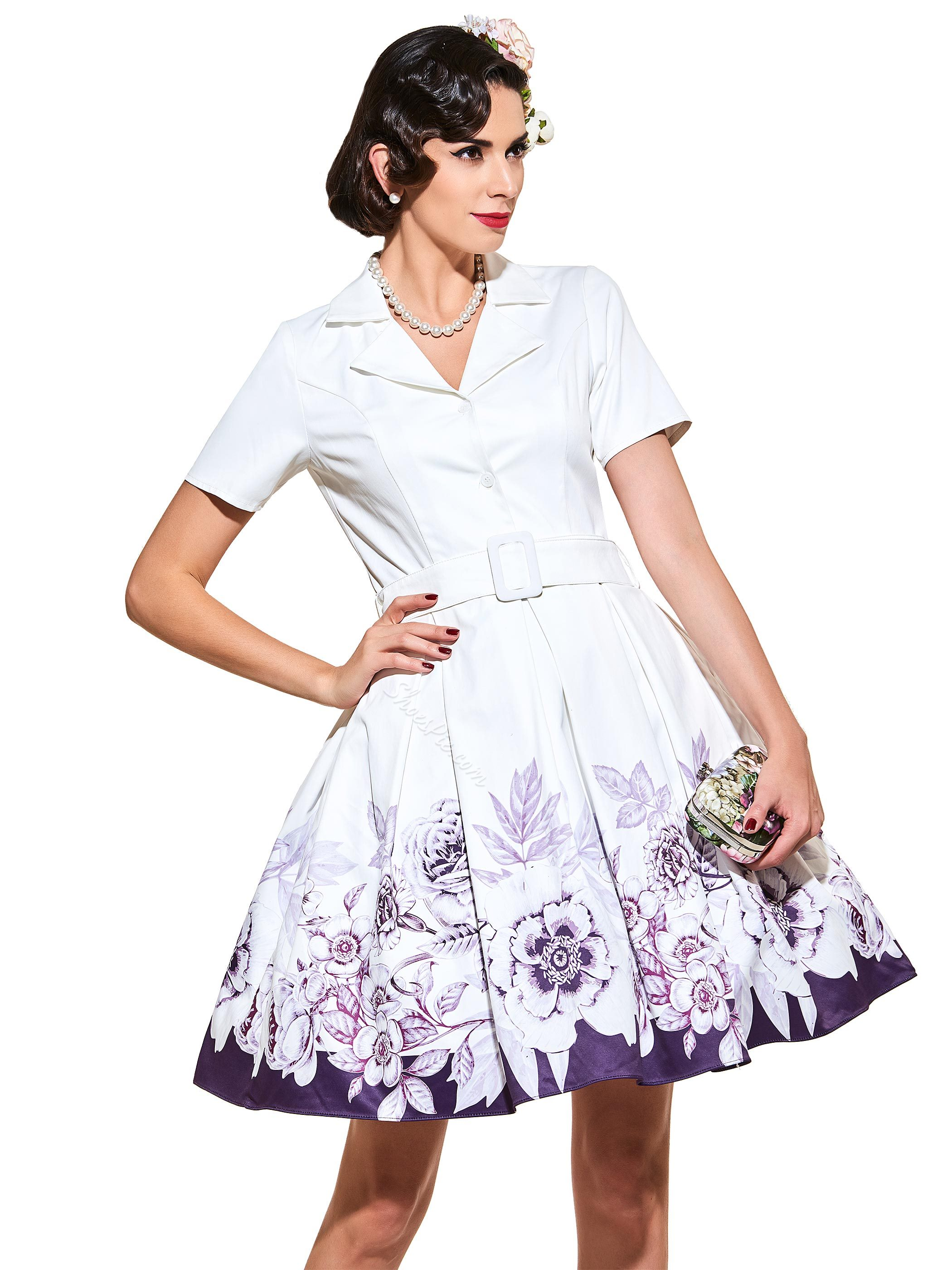 Regular V-Neck Short Sleeve Vintage Dress