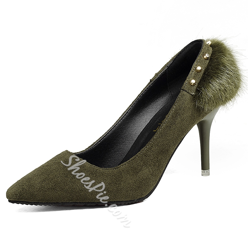 Shoespie Solid Color Back Fur Appliqued Pumps