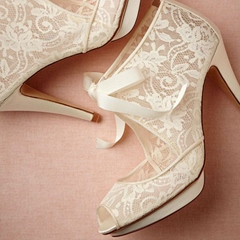 Shoespie Dreaming Ivory Ribbon Lace Up Peep Toe Bridal Shoes