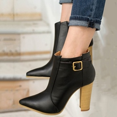 Shoespie Dark Black Chunky Heel Ankle Boots