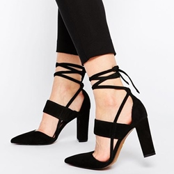 Shoespie Chic Black Chunky Heel Lace Up Shoes