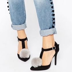 Shoespie Black Pompom Accented T Strap Stiletto Heels