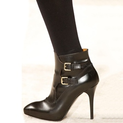 Shoespie Stylish Black Buckle Fashion Booties