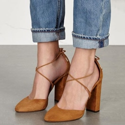 Shoespie Chic Brown Strappy Looks Chunky Heels