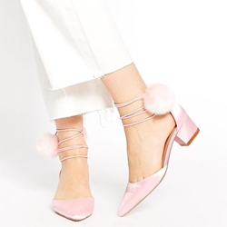 Shoespie Satin Pompom Accented Lace Up Low Heel Pumps