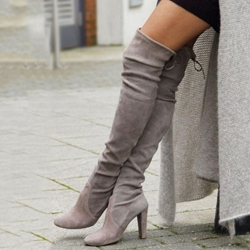 Shoespie Cozy Gray Suede Chunky Heel Over the Knee Boots
