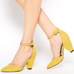 Shoespie Unique Yellow Ankle Wrap Block Heels