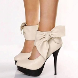 Shoespie Elegant Nude Ankle Bow Side Zipper Platform Heels