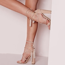 Shoespie Nuce Cozy Chunky Heel Lace Up Dress Sandals