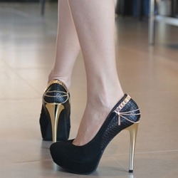 Shoespie High-end Black Chain Trimmed Platform Heels