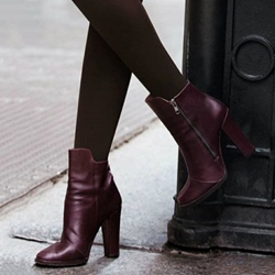 Shoespie Dark Purplr Side Zipper Chunky Heel Ankle Boots