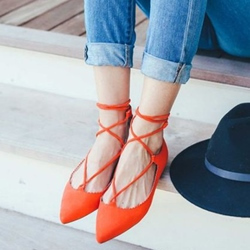 Shoespie Bright Orange Lace Up Loafers
