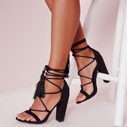 Shoespie Black Cozy Chunky Heel Lace Up Dress Sandals