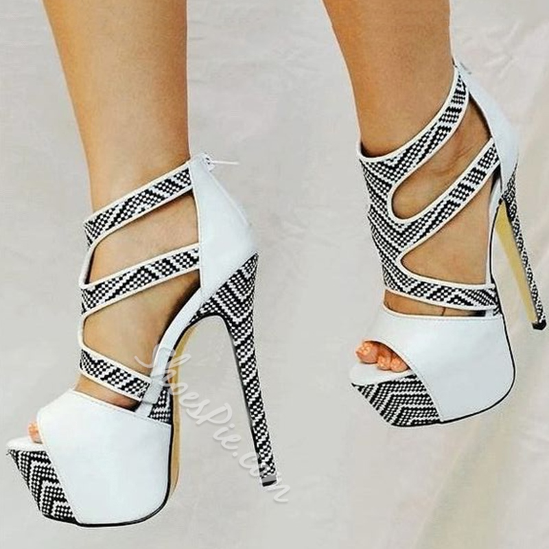 Shoespie Gorgeous Snake Pattern Open Toe Platform Heels