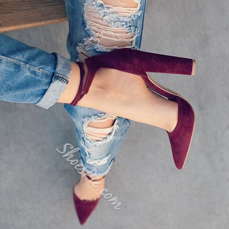 Shoespie Cozy Two Part Chunky Heel Lace Up Pumps