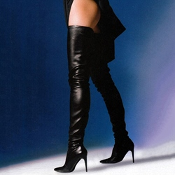Shoespie Sexy Black Pointed Toe Over the Knee Stiletto Boots