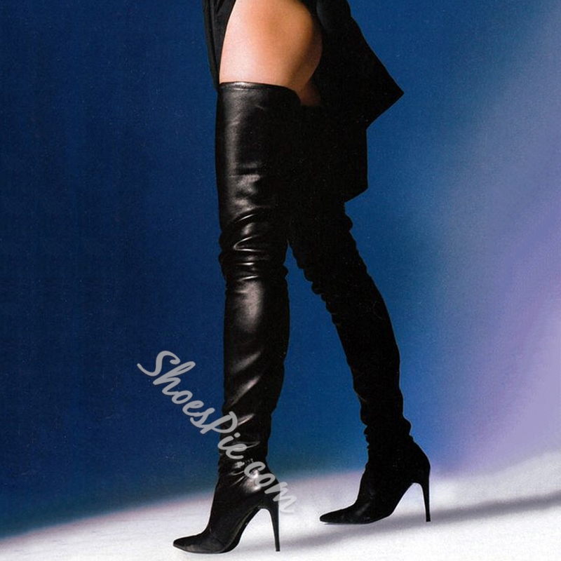 a5904700b14 Shoespie Sexy Black Pointed Toe Over the Knee Stiletto Boots- Shoespie.com