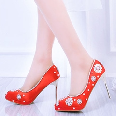 Shoespie Red Rhinestone Flower Stiletto Bridal Shoes