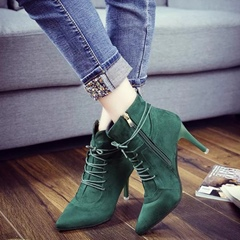 Shoespie Plain Color Lace Up Stiletto Heel Ankle Boots