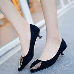 Shoespie Concise Round Metal Kitten Pumps