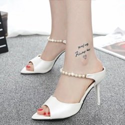 Shoespie Chic Pointed Toe Backless Bridal Shoes