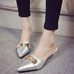 Shoespie Casual Paillette Appliqued Kitten Mules Shoes