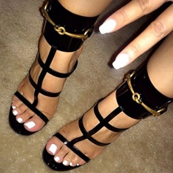 Shoespie Punky Black Strappy Sandals