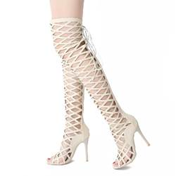 Shoespie Thigh High Cage Gladiator Sandals