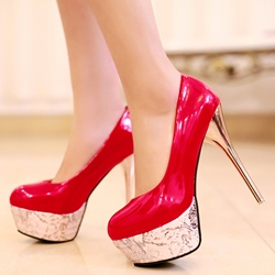 Shoespie Fashion Shine Patent Leather Platform Heels