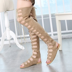 Shoespie Thigh High Lace Up Flat Gladiator Sandals