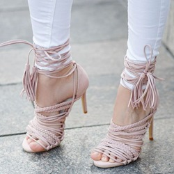 Shoespie Pink Braided Strappy Sandals
